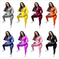 Women 2 Piece Set Tracksuit Fashion Solid Zipper With Pocket...