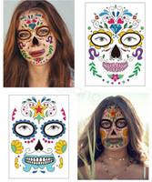 Halloween tatouage temporaire Autocollants Décor Props visage autocollant Atmosphere imperméable mascarade tatouages visage pour le corps Art FFA4461-2