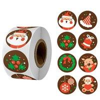 زينة عيد الميلاد 500 قطع مرح ملصقات شجرة الأيائل الحلوى حقيبة ختم ملصقا هدايا مربع تسميات سنة