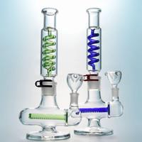 Se puede congelar vidrio grande Bong Inline Perc Construir una pipa de agua azul verde del condensador Bobina del tubo de agua de 14 mm Mujer conjunta de petróleo Dab ILL06 Rig