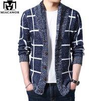 Мужские свитера MIACAWOR свитер мужчины плед кардиган осень трикотажные пальто вязание джемпер тонкий подходящий потягивание Homme падение Y162