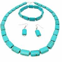 Vente en gros 5 ensembles boucles d'oreilles argentées amour coeur rouge rouge et vert pierre turquoise pendentif collier bracelet bijoux