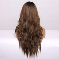 qualityLong Negro de Brown Ombre Mixta Sintético Gris Pelucas Natural ondulado peluca de las mujeres a prueba de calor de Cosplay pelucas oscuro peluca