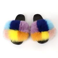 Pantoufles Femmes Fourrure Dames à la maison Sliders Fluffy Sandales plats à fourrure intérieure Casual Cosy Flip Flops