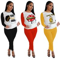 Sets Fashion Female Loose Casual Tracksuits Ladies Lips Pattern Sets Designer New Long Sleeve Round Neck Outfits Letters Tops Pants 2pcs