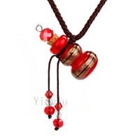 펜던트 목걸이 yingwu 빨간색 조롱박 무라노 유리 작은 다채로운 기름 재 urn 병 코르크 바이알 목걸이