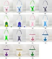 Счастливой Пасхи Burlap Bunny Уши Сумка Холст Кролик Корзина Симпатичные Конфеты Ведро для праздников Детские подарки