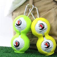 Nueva cubierta protectora 2 piezas de accesorios del golf la bola puesta Campo de silicona puede ser un equipo de protección colgado en el cinturón de la pelota de golf