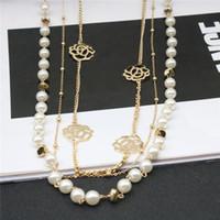 Las mujeres collar de perlas imitado Chian flor collares de la aleación de cadena larga para el vestido de la mujer regalo de la joyería Accesorios