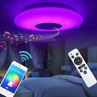 60W RGB Recessed 설치 원형 별 음악 LED 천장 조명, 블루투스 스피커, 디 밍이 가능한 색상 변경 램프