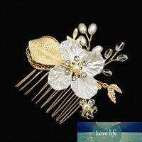 Almacén de los EEUU del tocado de la dama lateral peine para la novia hecho a mano de perlas de imitación de las hojas de flor de cristal pernos de pelo Accesorios para el cabello