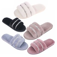 Fashion Slippers Flip Flops Autumn and Winter Fashion and Comfortable Rhinestone Non-slip Open-toed Flat-bottomed Household Cotton Slippers