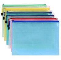 La bolsa de rejilla con cremallera Archivo del multicolor impermeable carpetas de archivo plástica Documento de Estudiantes de bolsillo de papelería bolsas de oficina Suministros de Archivos de negocio