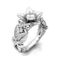 뜨거운 판매 여성 지르콘 반지 로즈 모양의 가지 링 장식품 약혼 결혼식 합금 보석 패션 공급