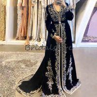 Brillantes marroquíes vestidos de noche con apliques elegante de manga larga musulmanes árabes formal de la ocasión especial vestidos de baile 2020 Dubai Abaya