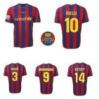 2009 2010 Dani Alves MESSI XAVI A.INIESTA HENRY IBRAHIMOVIC Hause retro Fußball-Trikot 09 10 BOJAN PEDRO SERGIO Vintage klassische Fußballhemd