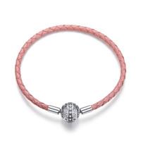 Fashion Disco Ball snap fermoir Rose Bracelet en cuir européenne Fit Pandora Charm réel Argent 925