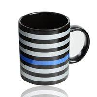 350 ㎖ 블루 라인 USA 경찰 머그컵 블루 라인 머그컵 세라믹 커피 우유 컵 트럼프 커피 텀블러 손잡이 세라믹 컵 GGA3667-8