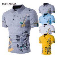 Los hombres ocasionales de la camisa de manga corta masculina camisas de polos Imprimir del ajustado de nuevo verano 2020 ropa de hombre