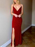 Sexy V-образным вырезом Длинные платья Пром с щелевой блестками платье Homecoming Backless Maxi Формальное Длина партии мантий пола