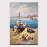 Mintura dipinto a mano dipinti ad olio su tela di canapa di mare e pesca Boat Series Picture parete per Living Room Decor Art nessun pagina