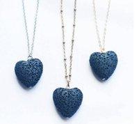 Collar colgante de roca de lava del corazón caliente 9 colores aromaterapia esencial difusor de aceite en forma de corazón collares para mujeres GD510