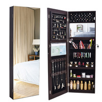 WACO Jewelry Armoire Display Mirror,Storage Furniture, Wall-mounted or Hanging Necklace Hooks, Jewelries Organizer Rack Shelf Dressers Cabinet - Brown
