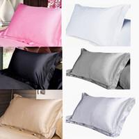 Funda de almohada de seda de seda de color sólido Caja de almohada con cremallera con cremallera cubierta de almohada con cremallera con sobrem de la cara de la cara de cama cubierta de almohada DHL gratis