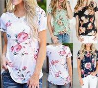 디자이너 슬림 풀오버 의류 Cacual 크루 넥 티셔츠 꽃 인쇄 여름 짧은 소매 정기 티 여자