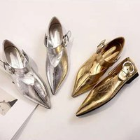 Gold Silver Patent Leather Buckle Lazy Shoes Woman Loafer Spring Women Flat Single Shoes Summer V-Mouth Adjustable Grandma