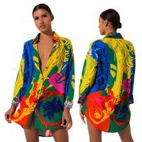 Neue Art und Weise Frauen-Hemd-Kleid-lange Hülse Vestidos Designer-Kleider bunt gestrichenen One Piece Großhandel Kleidung
