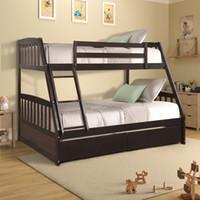 US-amerikanische Massivholz-Zweibettzimmer über volles Etagenbett mit zwei Aufbewahrungsschubladen Modern Dorm Home Wohn-Betten mit Leitern Schnelles Verschiffen SH000092PAA