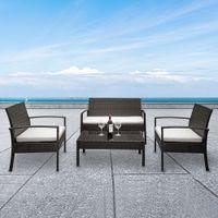 Confortables ensembles d'intérieur 2pcs Chaises de bras 1pc Love SIÈVRE Table basse Table basse Table basse Rattan Canapé Set Gradient brun
