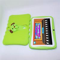 A33 Kids Tablet PC 7 بوصة رباعية النواة 512 ميجابايت 8 جيجابايت سيليكون حالة وقائية مزدوجة الكاميرا 1024 * 600 هدية كبيرة المتكلم لالروبوت 4.4