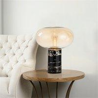 Nordic preto mármore mármore máscara lâmpada lâmpada led e27 lâmpada de fonte de bulbo lâmpada de vidro sala de estudo quarto quarto lâmpada de cabeceira