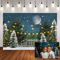 Fotografia tło zima śnieżynka śnieżynka choinka księżyc migający światła dekoracje Boże Narodzenie backdrops for fotout