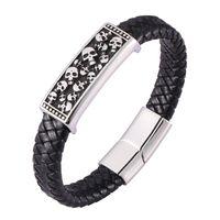 Bracelet en cuir tressé noir Mode Hommes Skeleton Crâne Bracelets Bracelets Homme Cuir Bracelet Punk Bijoux C0473