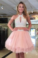 Stylish Arrival Pink Homecoming Dresses Halter Two Pieces Beads Short Prom Dresses Major Beading Special Occasion Dress Mini Coc