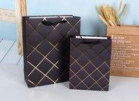 선물 포장 Bronzing 라인 종이 가방, Cothing 검은 가방 파티 결혼식 날 크리스마스 초콜릿 packagin 96pcs / lot