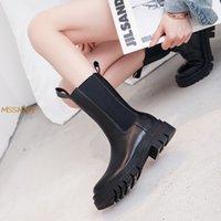 الأحذية الشتاء النساء منتصف العجل الأزياء سميكة أسفل براءات الاختراع السيدات أحذية كعب مربع مريحة تنفس