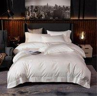 İnci Beyaz Prenses yatak Düz renk yatak örtüsü 4adet Mısır pamuğu Otel nevresim Çarşaf yastık kılıfı Kraliçe Kral set
