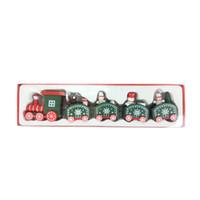 Рождественские украшения Деревянный поезд детей Детский сад день подарок украшения красный белый зеленый цвет с быстрым кораблем