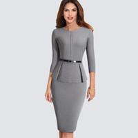 Nuovo autunno di arrivo formale Peplum Office Lady Dress Elegante guaina aderente lavoro Business vestito dalla matita HB473 Y200805