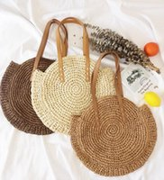 Round-Stroh-Strand-Beutel-Weinlese-handgemachte gesponnene Schultertasche Kreis Rattan Taschen Bohemian-Sommer beiläufiger Beutel