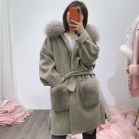 OFTBUY Gerçek Kürk Kış Ceket Kadınlar Doğal Fox Kürk Yaka Cep Manşetleri Hood Kaşmir Yün Yün Oversize Bayanlar Dış Giyim