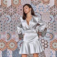 Сексуальная атласная женская мини-вечеринка платье 2020 осенью новейшая женская глубокая VELE VELE Full Full Free Fullew Roofles Streetwear