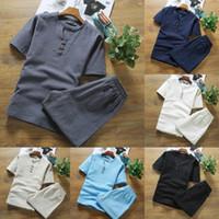 Herren Anzug Hohe Qualität Baumwolle und Leinen Dünne Leinen Set Slim Feste Farbe Kurzarm T-Shirt Große Größe Lose Lässige Atmungsaktive Hose