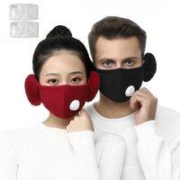 2 em 1 Máscara Facial Máscara Tampa Com Plush Ear Protective PM2.5 grosso e quente Máscaras Boca Inverno Boca-Muffle Earflap exterior w-00275