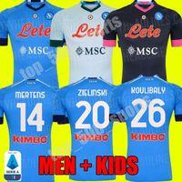 Hombres Niños 2020 2021 Napoli Home Soccer Jerseys Nápoles H.Lozan lejos Tercer fútbol Jersey 20 21 Hamsik Insigne Player Mertens Shirt