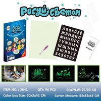 1PC LED A5 Luminous Drawing Board Graffiti Doodle Drawing Tablet Magia Desenhar com luz fluorescente Fun Pen brinquedo educativo